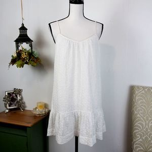 Madewell Floral Embroidered White Sundress Ruffle